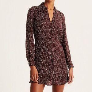 A&F Burgundy Dot Pattern Tie Waist Shirt Dress